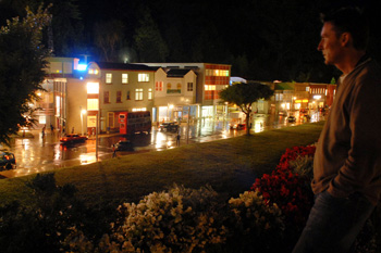 Model Village shops at night